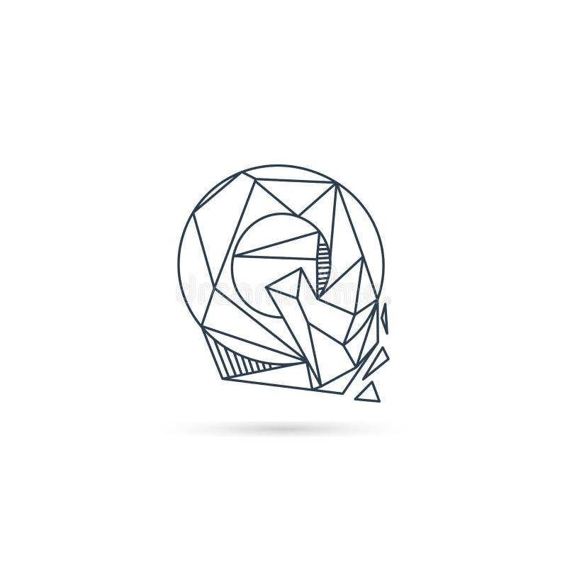van het het embleemontwerp van de halfedelsteenbrief q van het het pictogrammalplaatje het vector geïsoleerde element royalty-vrije illustratie