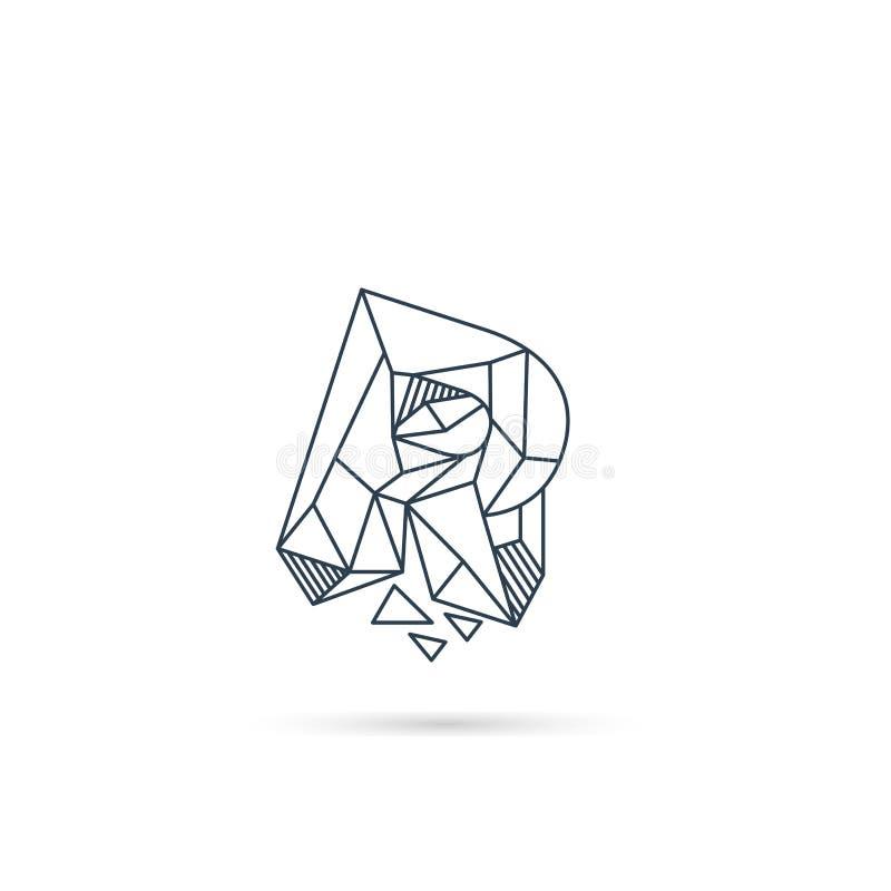 van het het embleemontwerp van de halfedelsteenbrief r van het het pictogrammalplaatje het vector geïsoleerde element royalty-vrije illustratie
