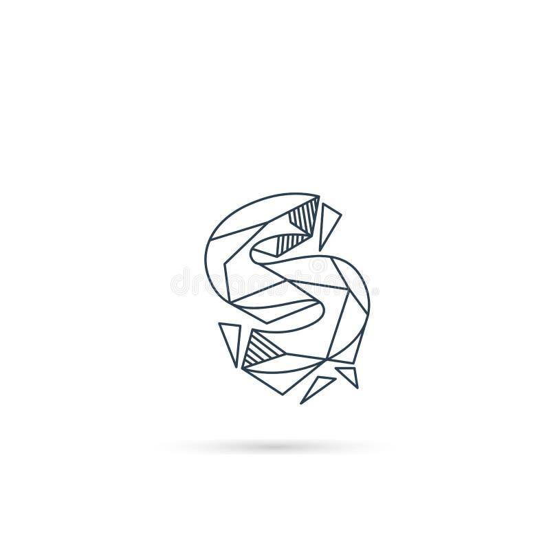 van het het embleemontwerp van de halfedelsteenbrief s van het het pictogrammalplaatje het vector geïsoleerde element stock illustratie