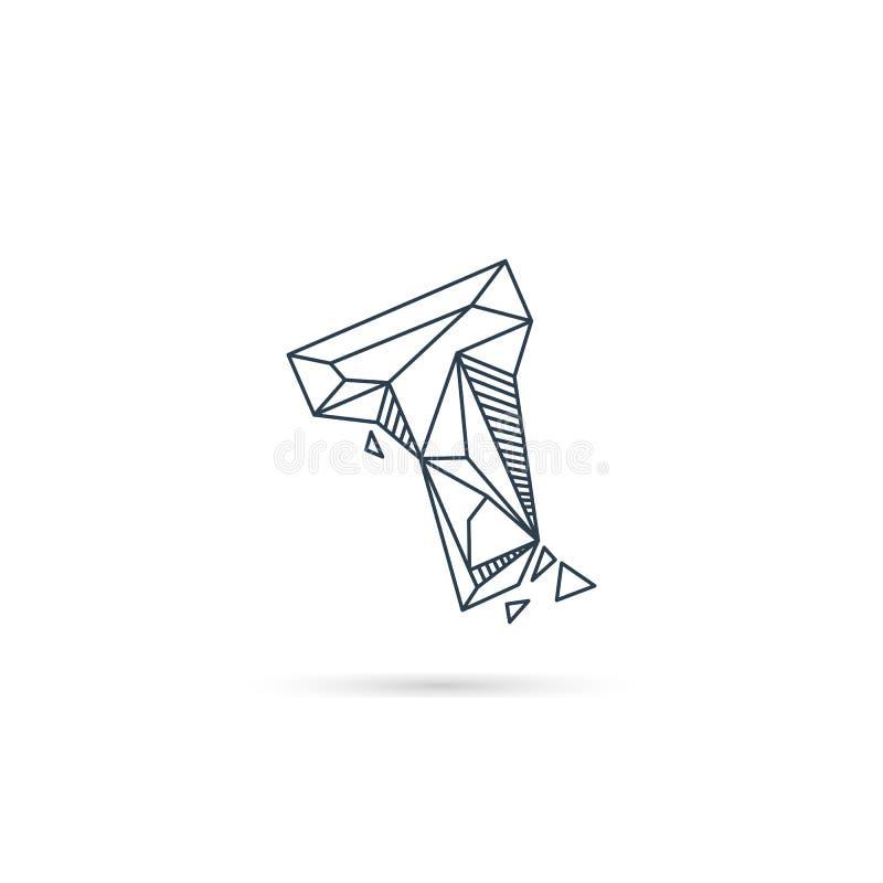 van het het embleemontwerp van de halfedelsteenbrief t van het het pictogrammalplaatje het vector geïsoleerde element vector illustratie