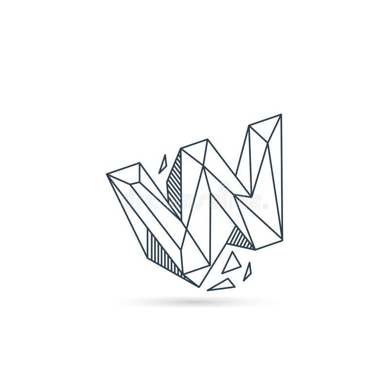 van het het embleemontwerp van de halfedelsteenbrief w van het het pictogrammalplaatje het vector geïsoleerde element stock illustratie