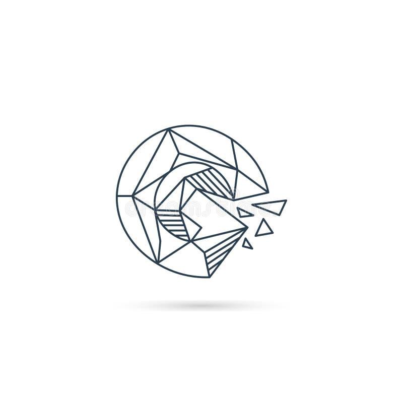 van het het embleemontwerp van g van de halfedelsteenbrief van het het pictogrammalplaatje het vector geïsoleerde element stock illustratie