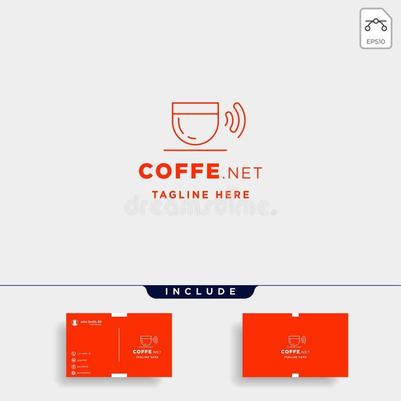 van het het embleemontwerp van koffiewifi van de koffieinternet het vectorsymbool van het het pictogramteken royalty-vrije illustratie