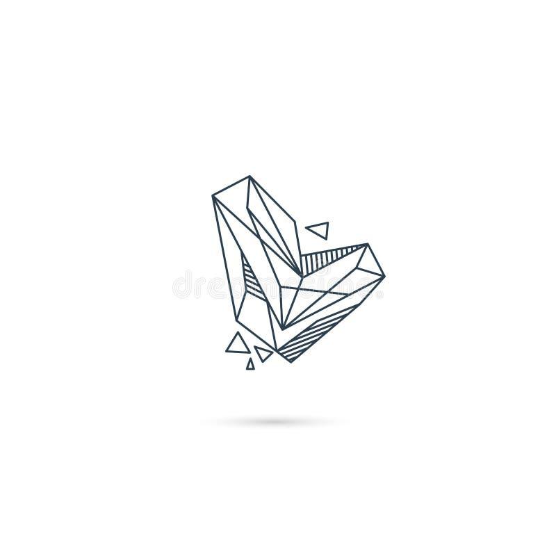 van het het embleemontwerp van l van de halfedelsteenbrief van het het pictogrammalplaatje het vector geïsoleerde element stock illustratie