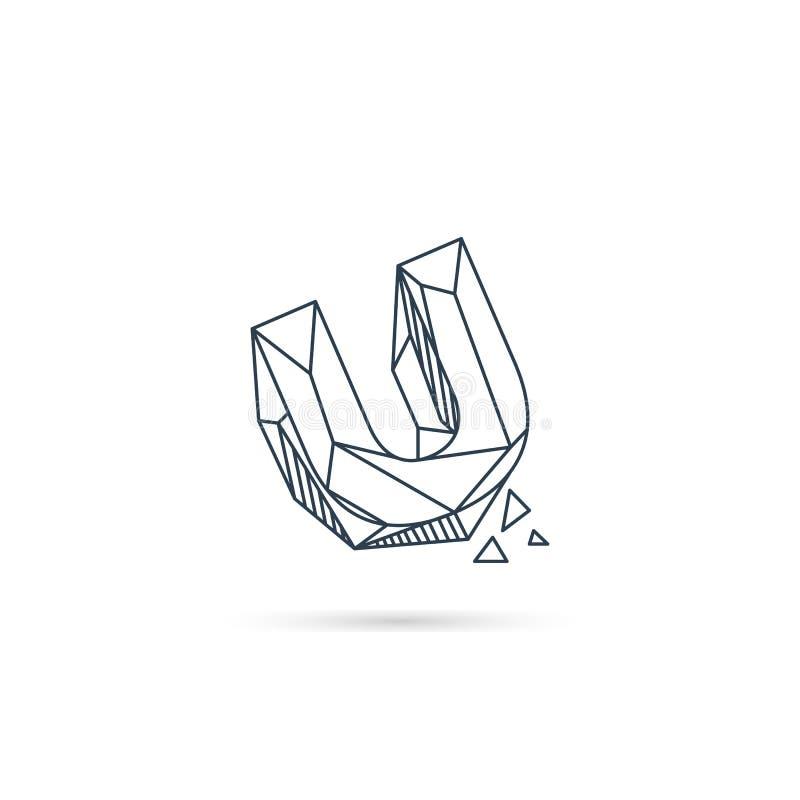 van het het embleemontwerp van u van de halfedelsteenbrief van het het pictogrammalplaatje het vector geïsoleerde element royalty-vrije illustratie