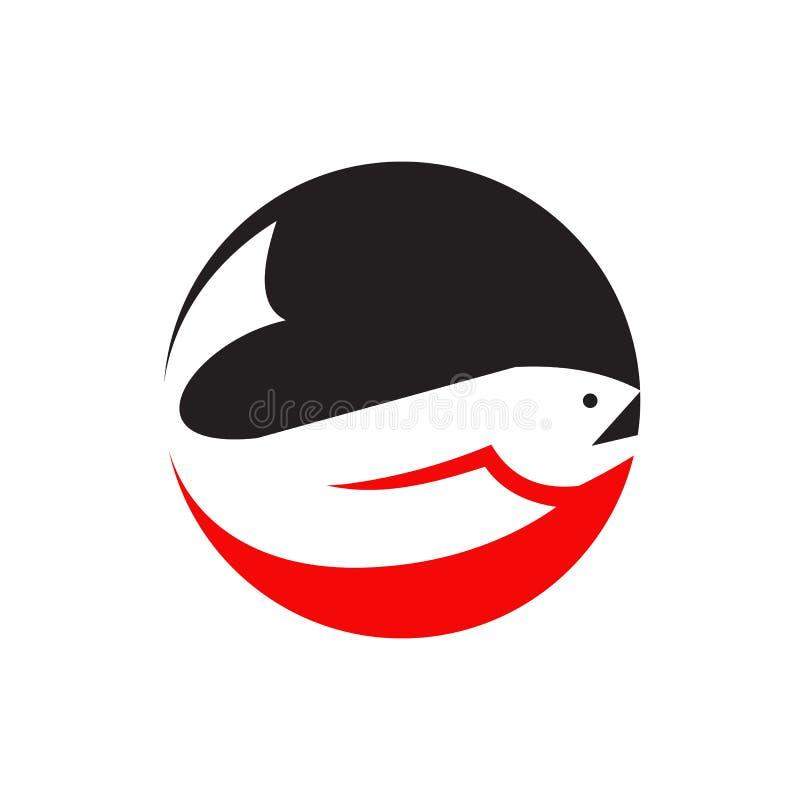Van het het embleemontwerp van zalmvissen het vectormalplaatje stock illustratie