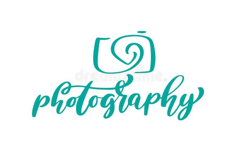 Van het het embleempictogram van de camerafotografie van de het malplaatje kalligrafische die inschrijving vector de fotografiete stock illustratie