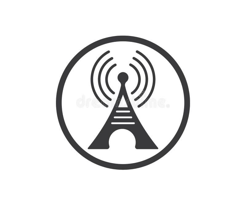 van het het embleempictogram van het torensignaal de vectorillustratie stock illustratie