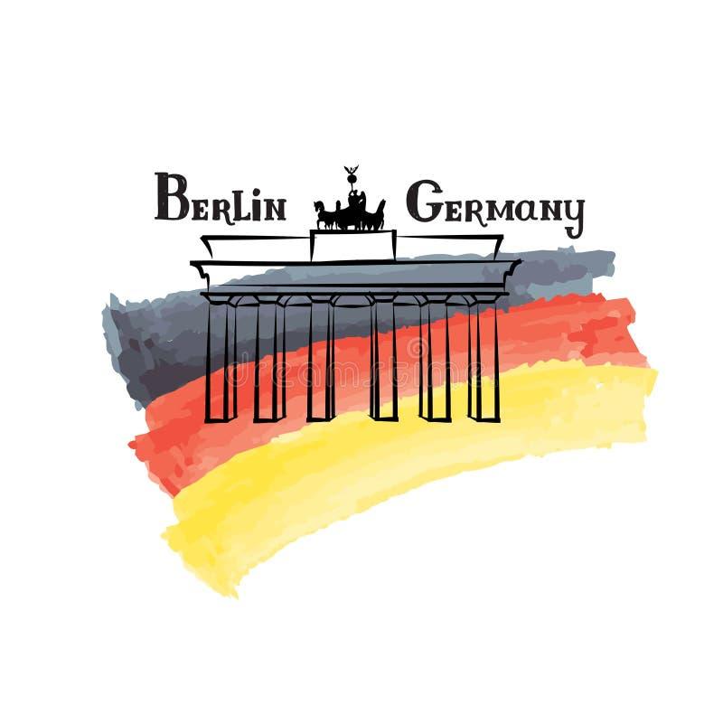 Van het etiketberlijn van reisduitsland beroemde de bouwbrandenburg poorten Duitsland stock illustratie