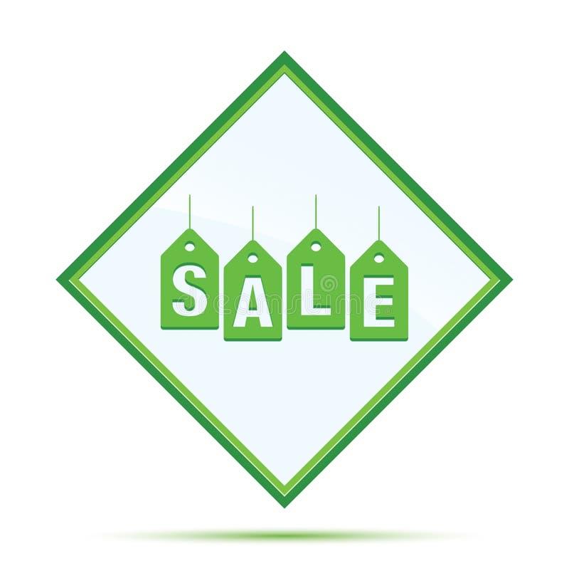 Van het het etiketpictogram van verkoopmarkeringen moderne abstracte groene de diamantknoop stock illustratie