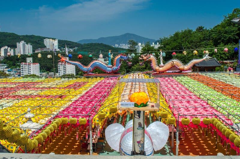 Van het Festivalsamgwansa van de Youngdeunglantaarn de Tempel Korea Busan royalty-vrije stock foto