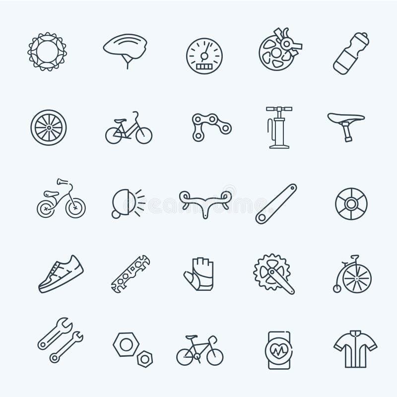 Van het fietshulpmiddelen en materiaal de reeks van het deelpictogram royalty-vrije illustratie
