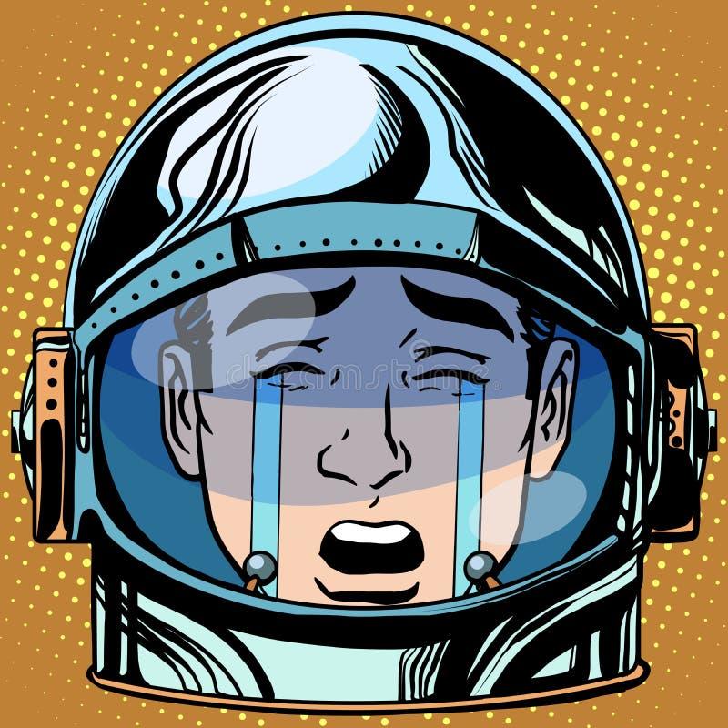 Van het gebrulemoji van Emoticonscheuren retro de astronaut van de het gezichtsmens royalty-vrije illustratie