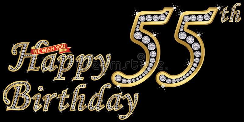 55 van het gelukkige verjaardags gouden jaar teken met diamanten, vectorillustratie royalty-vrije illustratie