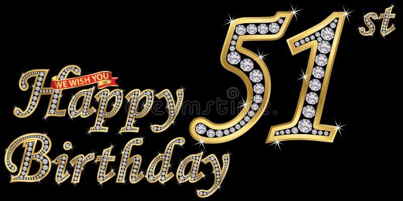 51 van het gelukkige verjaardags gouden jaar teken met diamanten, vectorillustratie stock illustratie