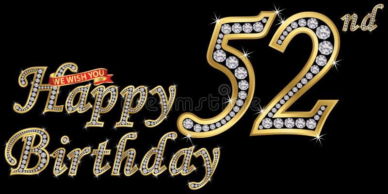 52 van het gelukkige verjaardags gouden jaar teken met diamanten, vectorillustratie royalty-vrije illustratie