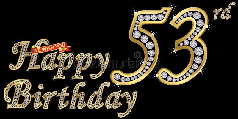 53 van het gelukkige verjaardags gouden jaar teken met diamanten, vectorillustratie stock illustratie