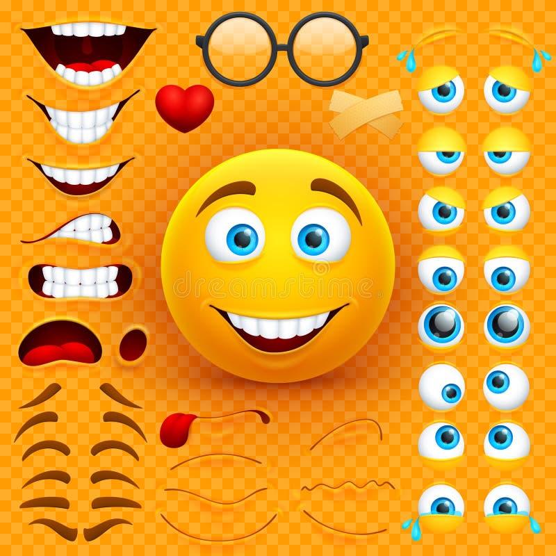 Van het het gezichts vectorkarakter van beeldverhaal gele 3d smiley de verwezenlijkingsaannemer Emoji met emoties, ogen en mouthe royalty-vrije illustratie