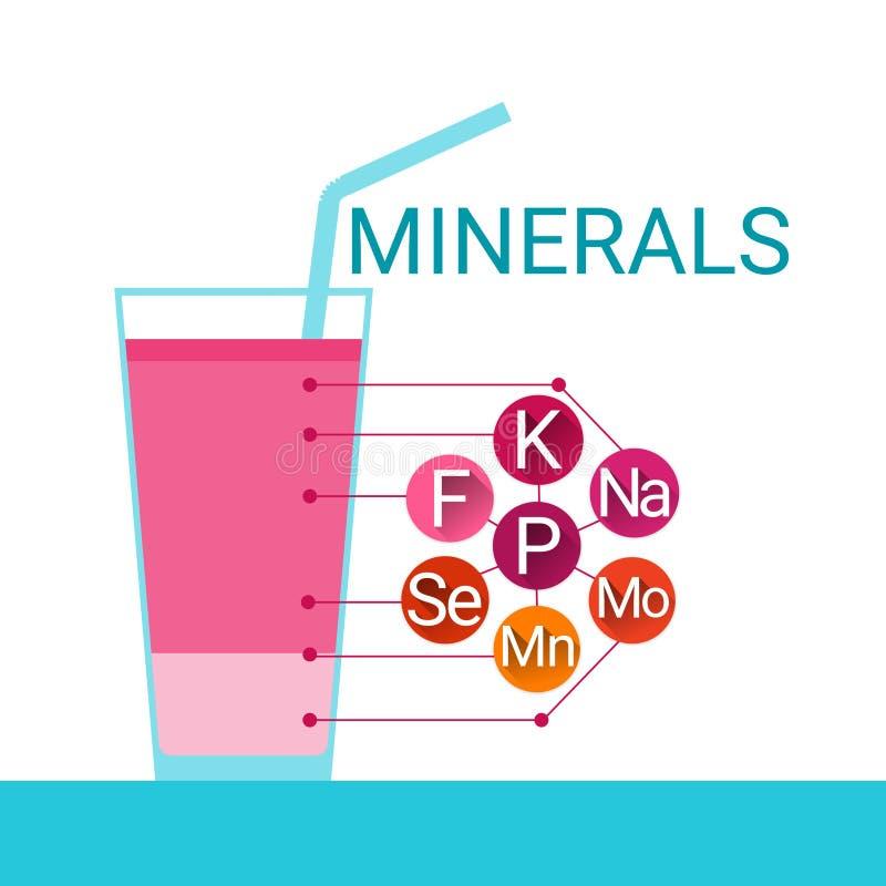 Van het Glas de Essentiële Chemische Elementen van de vitaminencocktail Voedende Mineralen stock illustratie