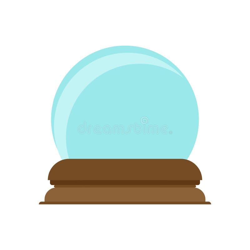 Van het het glassymbool van de kristallen boldecoratie het magische vectorpictogram Toekomstige heldere blauwe gebiedteller De fa vector illustratie