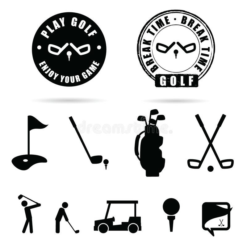 Van het golf zwarte pictogram en symbool vector stock illustratie