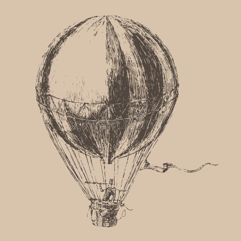 van het gravuresluchtschip (ballon) de stijl, getrokken hand stock illustratie