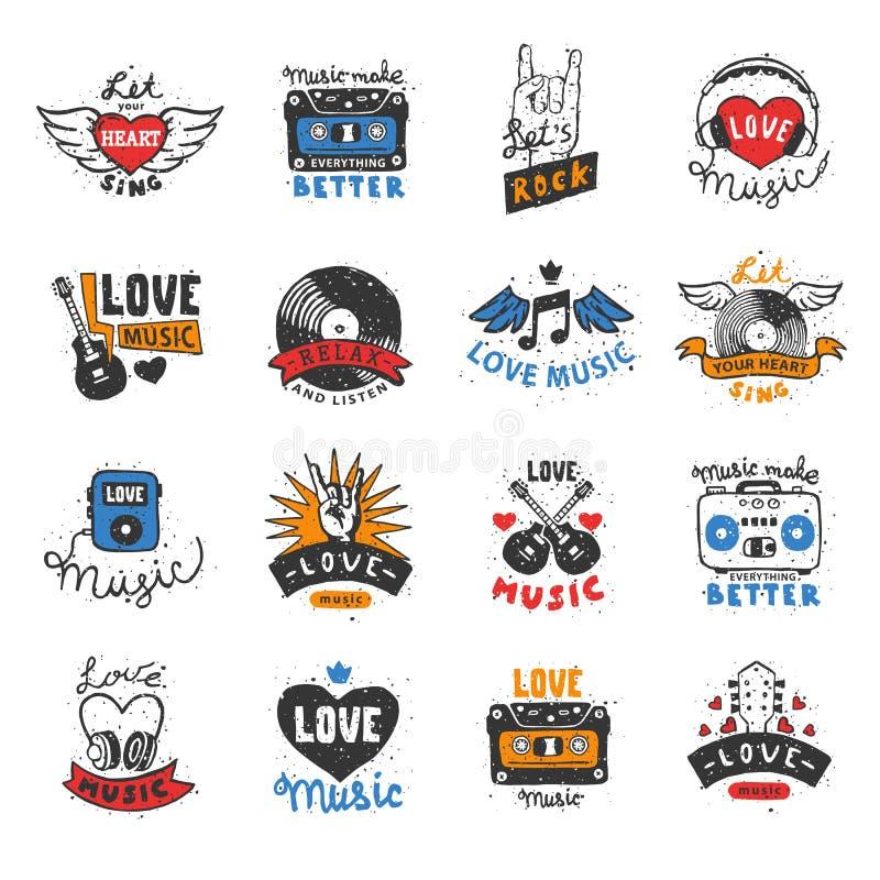 Van het het hartembleem van de muziekliefde van het de hartslaglied sloeg het vector muzikale de minnaargeluid van DJ logotype de royalty-vrije illustratie