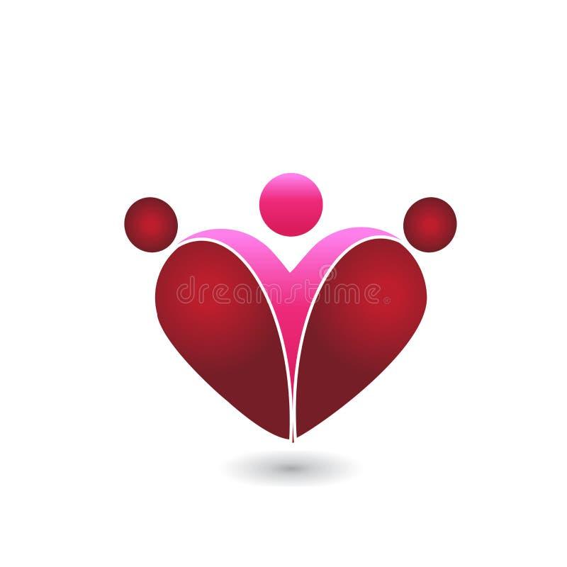 Van het hartomhelzingen van de familieliefde van het het symboolembleem vector het beeldpictogram stock illustratie