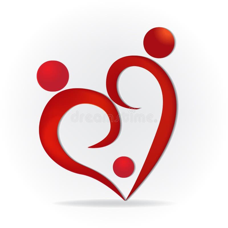 Van het het hartsymbool van de familieliefde het embleem vectorbeeld stock illustratie
