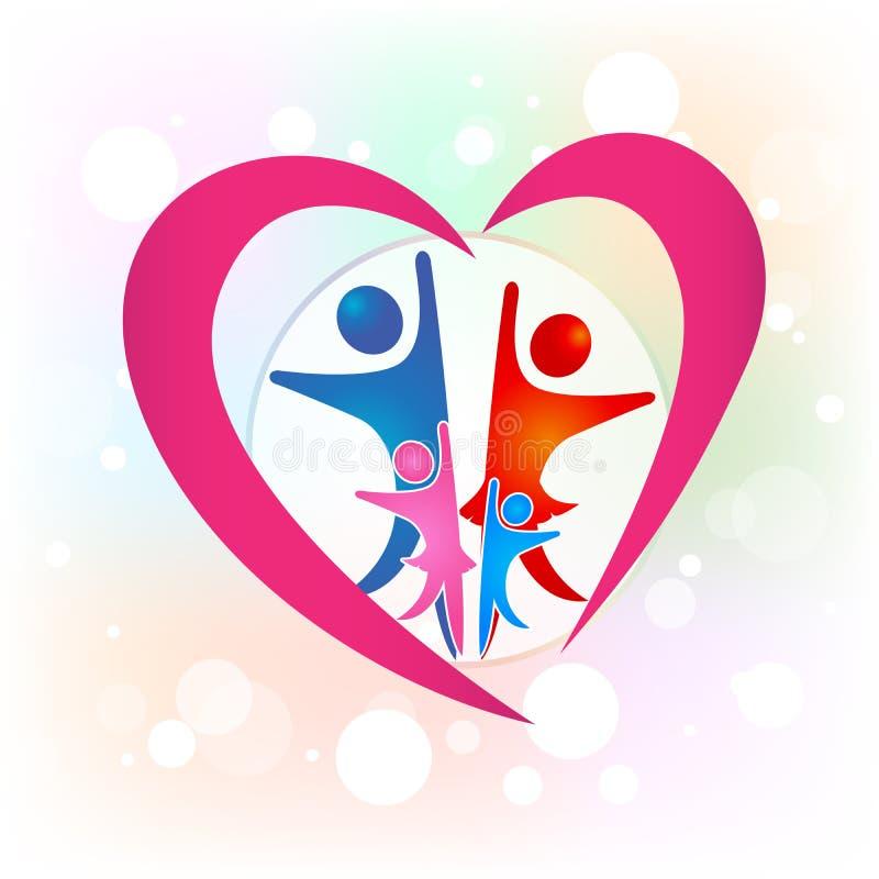 Van het het hartsymbool van de familieliefde het embleem vectorbeeld vector illustratie
