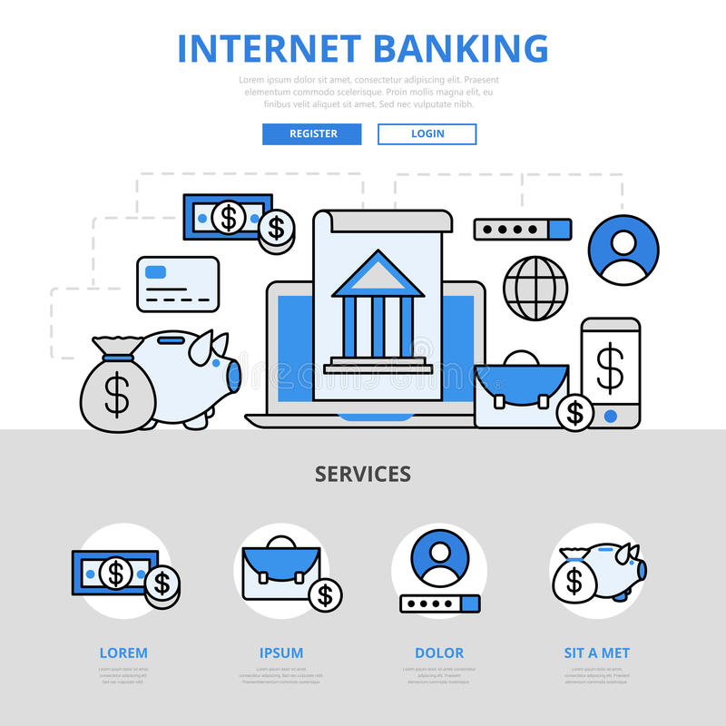 Van het het bankwezenconcept van Internet de online van de de lijnkunst vlakke vectorpictogrammen vector illustratie