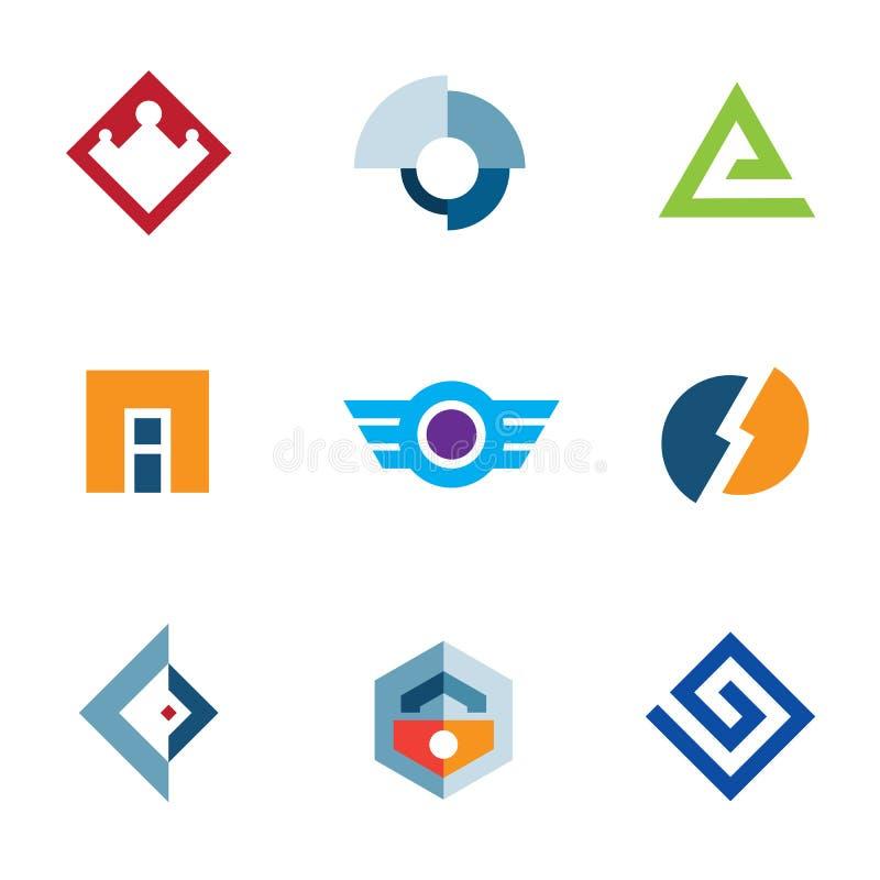 Van het het bedrijfs merkbedrijf van het embleemhandelsmerk reeks van het de abstracte technologiepictogram stock illustratie