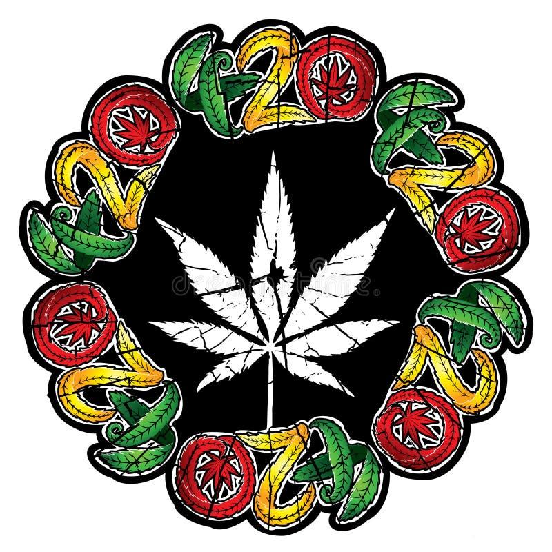 Van het het bladsymbool van de marihuanacannabis de geweven illustratie van de het ontwerpzegel vector illustratie
