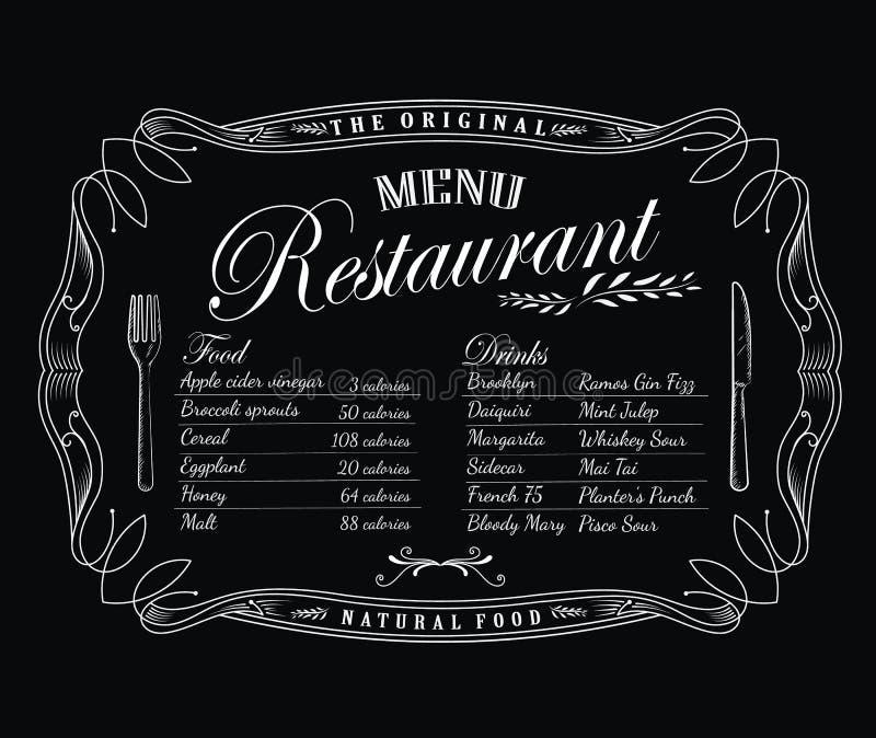 Van het het bord het uitstekende kader van het restaurantmenu antieke etiket vector illustratie