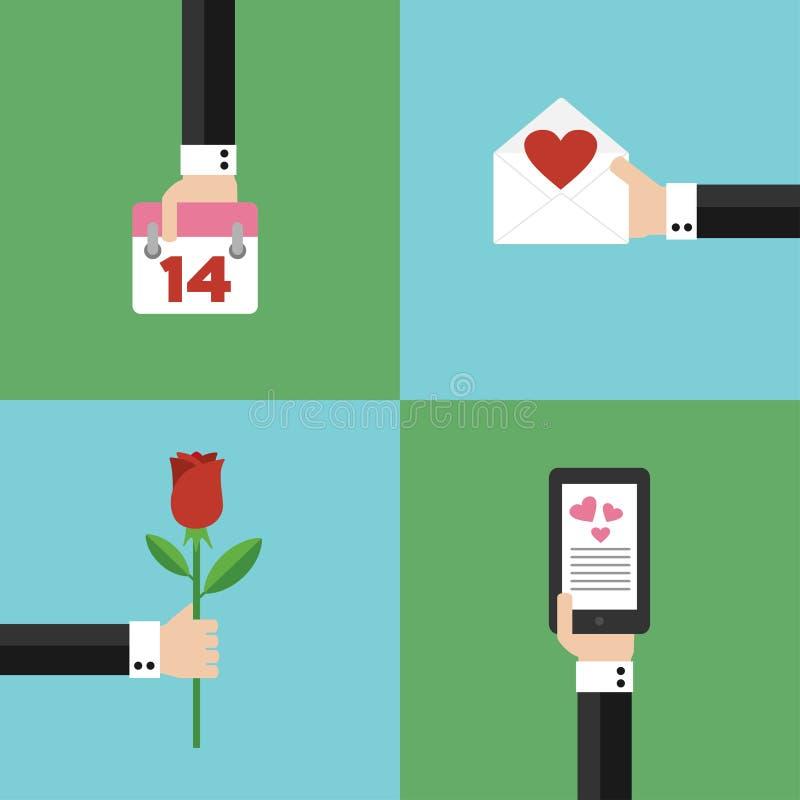 Van het het concepten de moderne ontwerp van de valentijnskaartendag vlakke reeks vector illustratie