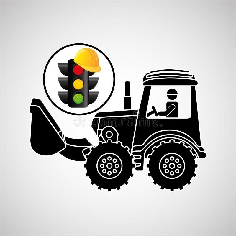Van het het conceptenverkeerslicht van de bouwvrachtwagen de helmontwerp royalty-vrije illustratie
