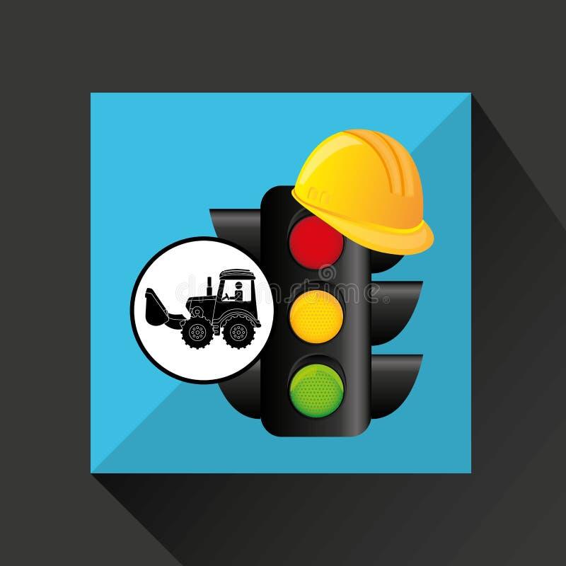 Van het het conceptenverkeerslicht van de bouwvrachtwagen de helmontwerp vector illustratie