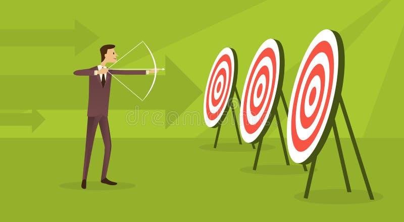Van het het Doelconcept van Archer To Target Get van het bedrijfsmensendoel de Pijlachtergrond stock illustratie