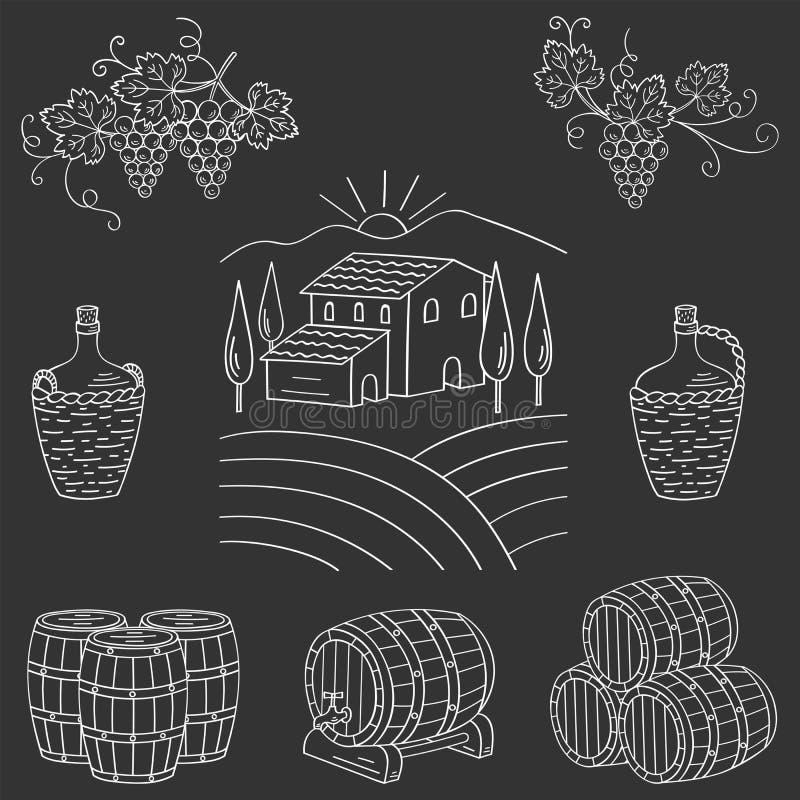 Van het het dorpslandschap van het wijngaardlandbouwbedrijf de vectorillustratie stock illustratie