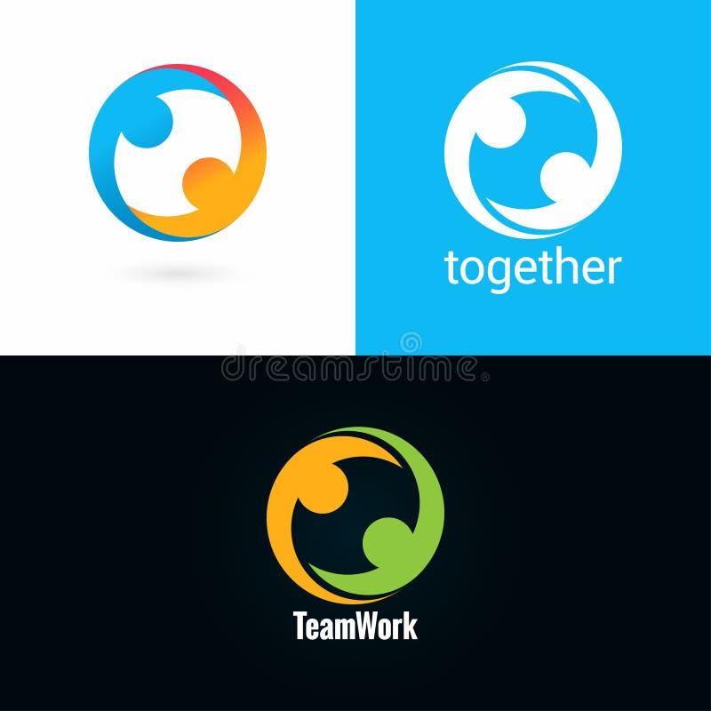 Van het het embleemontwerp van het teamwerk het pictogram vastgestelde achtergrond stock illustratie