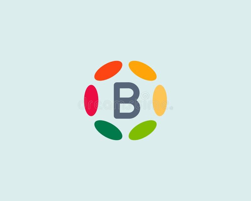 Van het het embleempictogram van de kleurenbrief B het vectorontwerp Hubkader logotype stock illustratie