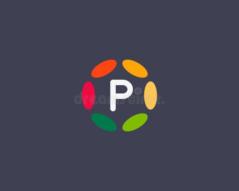 Van het het embleempictogram van de kleurenbrief p het vectorontwerp Hubkader logotype royalty-vrije illustratie