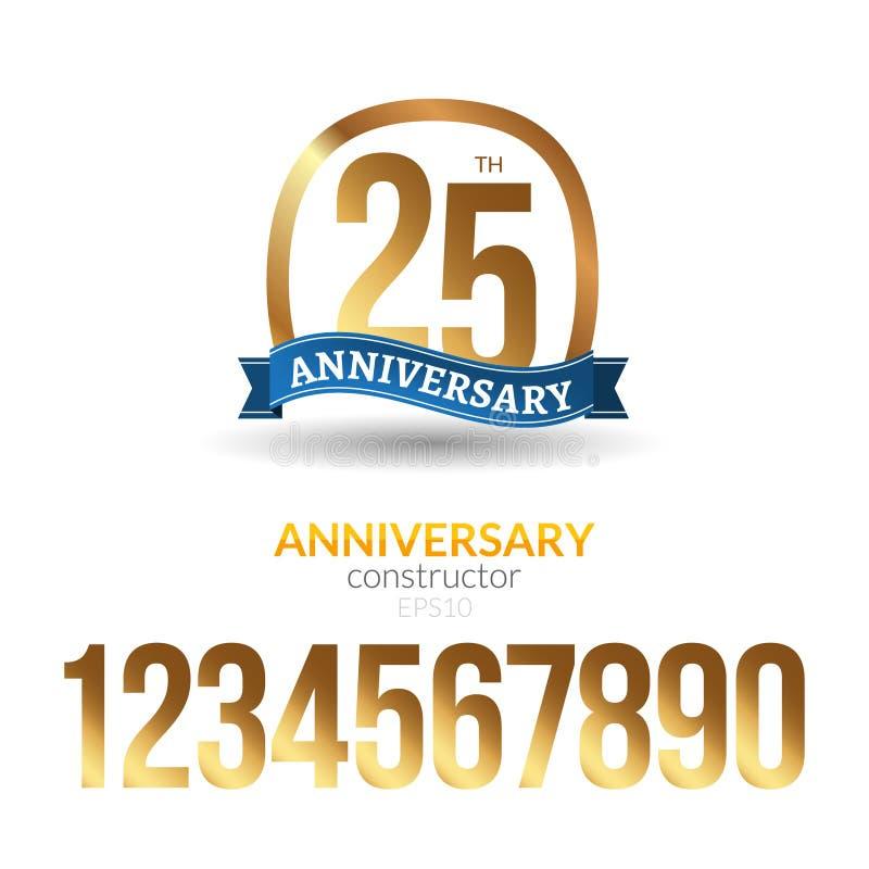 Van het het etiketlint van het verjaardagskenteken het tekenontwerp Verjaardagsaannemer met gouden aantallen Gelukwenssymbool royalty-vrije illustratie