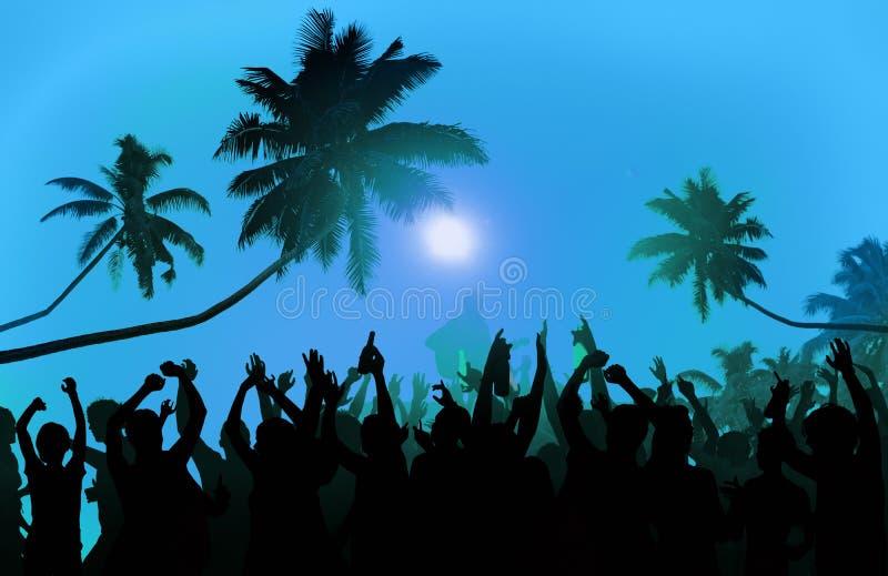 Van het het Festivalstrand van de de zomermuziek van de de Partijuitvoerder de Opwindingsconcept royalty-vrije stock foto's
