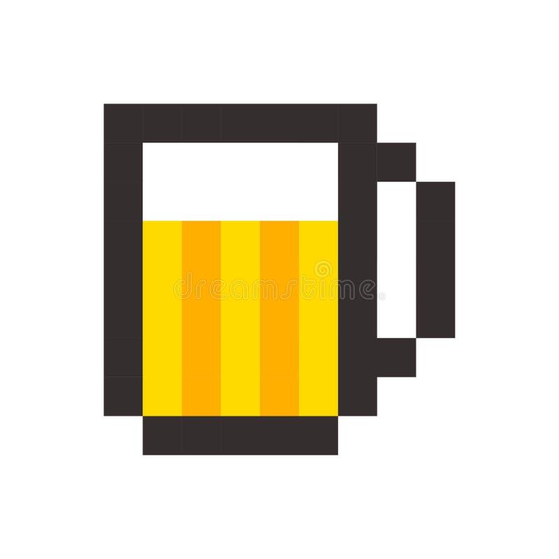 Van het het glasmalplaatje van het pixelbier symbool van het de brouwerijteken het uitstekende royalty-vrije illustratie