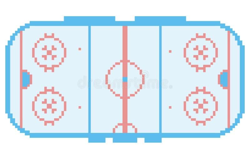 Van het het hockeystadion van de pixelkunst het hof van het de speelplaatsijs vector illustratie