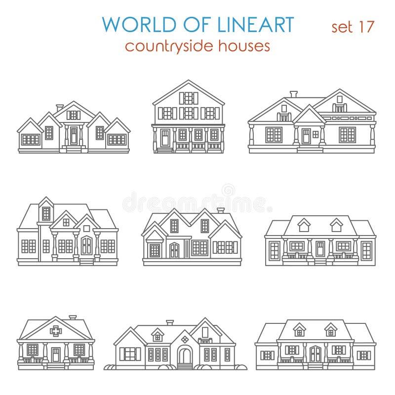 Van het het huishuis in de stad van het architectuurplatteland grafische lineart stock illustratie