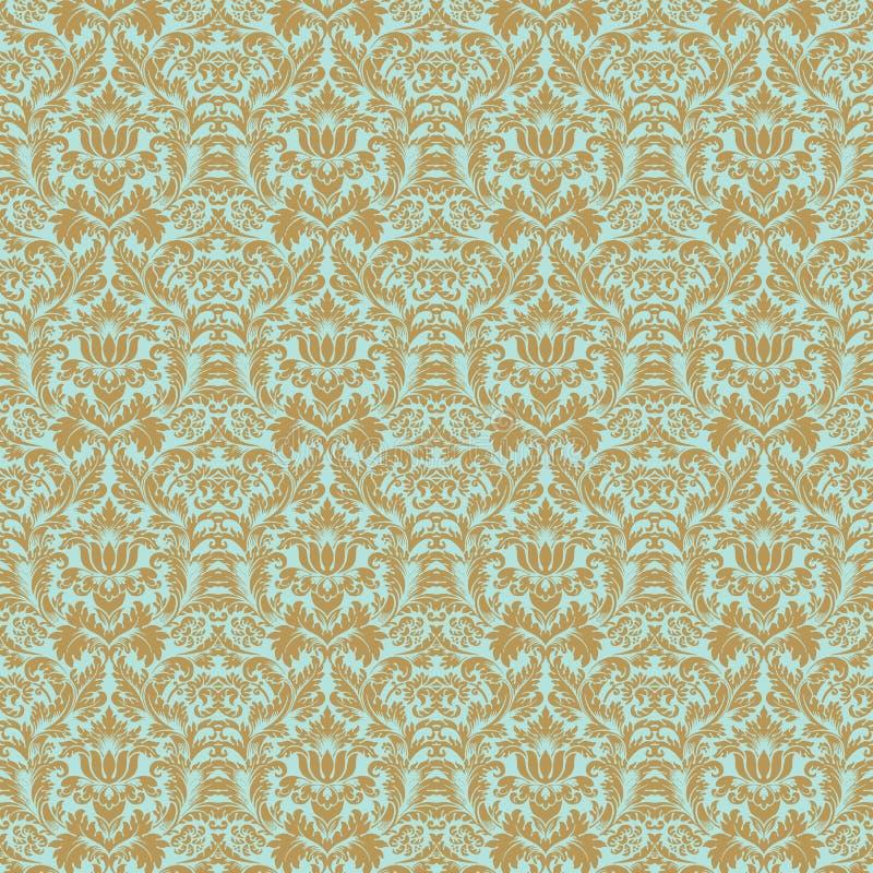 Van het het huwelijksdamast van Aqua het gouden bloemen naadloze patroon stock illustratie