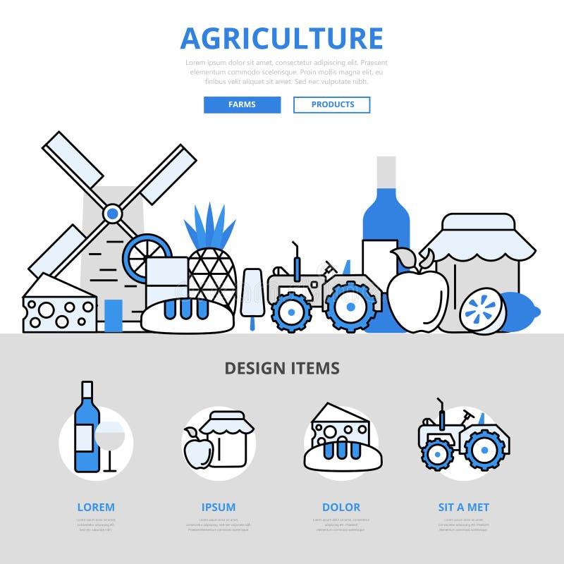 Van het het landbouwbedrijfconcept van de landbouwnatuurvoeding van de de lijnkunst de vlakke vectorpictogrammen vector illustratie