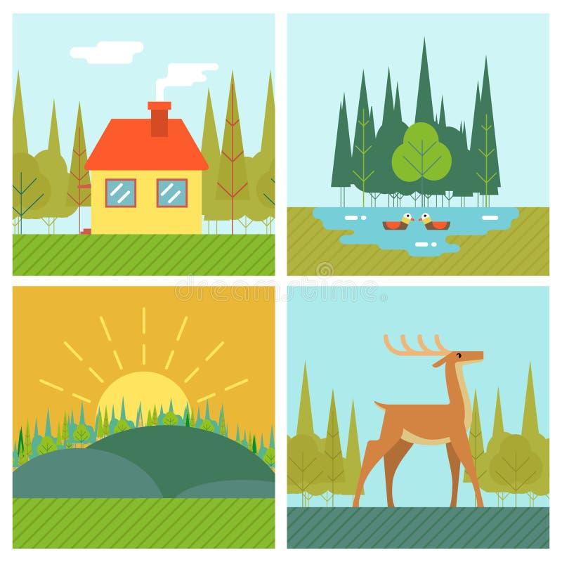 Van het het Levenssymbool van aardlandschappen Openlucht het Meerbos stock illustratie
